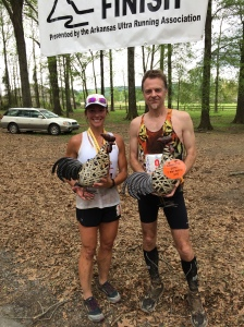 1st place male and female Oauchita 50 Miler