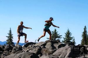 Boulder hopping.